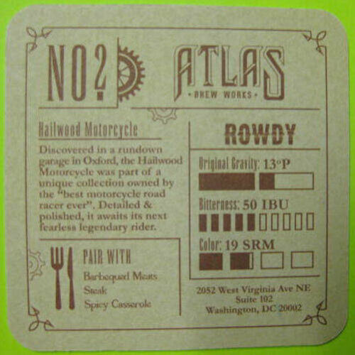Mat Atlas Brew Works RYE/'D OR DIE ROWDY Beer COASTER 2013 WASHINGTON D.C