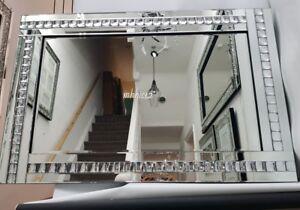 Details zu Glitzer Silber Kristall Groß Wand Spiegel Wohnzimmer Flur  Schlafzimmer 8x8cm