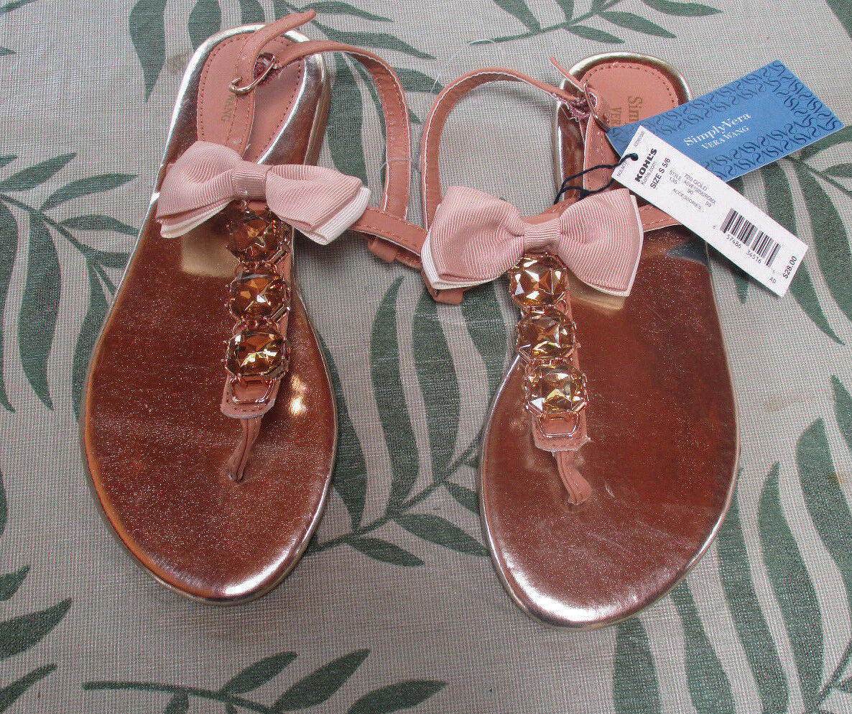 Simply Vera Vera Wang Gold Rhinestone Sandals w 5/6-NEW Tan Bow Size S 5/6-NEW w 589bb1