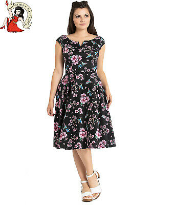 HELL BUNNY MESSINA animal ZEBRA safari TIGER 50s style BLACK DRESS XS-4XL