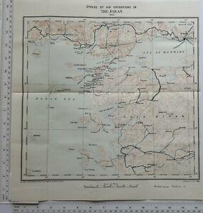WW1 Karte Sphäre Von Luft Operations IN Der Ägäis 1915 Gallipoli Halbinsel