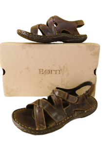 1aaa5d288edcb6 NEW Born Women 11 43 Gobi Slingback Sandals Brown Leather Cross ...