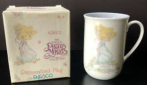 Precious-Moments-Personalized-Teacup-Coffee-Mug-034-Karen-034-Enesco-1989-Vintage-Gift