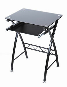 Black Glass Computer Desk with Sliding Keyboard Shelf Office Study