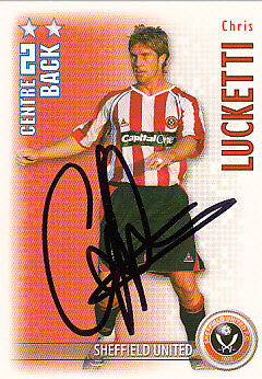Sheffield United F.c Chris lucketti mano firmado 06//07 Premiership Shoot Out Tarjeta