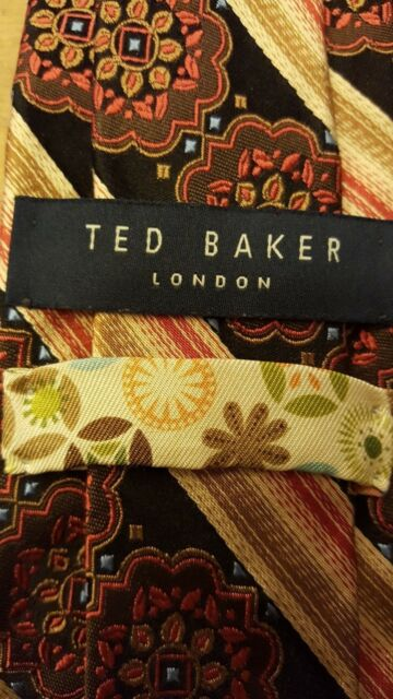 """Authentic, Ted Baker, Multi-color,Silk, Ancient Madder Print, XL Neck Tie (63"""")"""