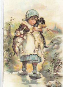 Being-Carried-from-Dogs-Postcard-unused-VGC