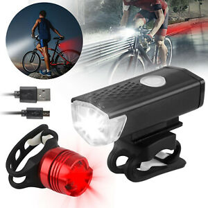 Rechargeable Bicycle Bike Headlight Rear Taillight Set USB LED Light Front Lamp