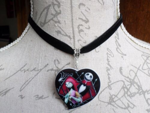 Jack Skellington Sally Heart Black Velvet Choker Nightmare Before Christmas Goth