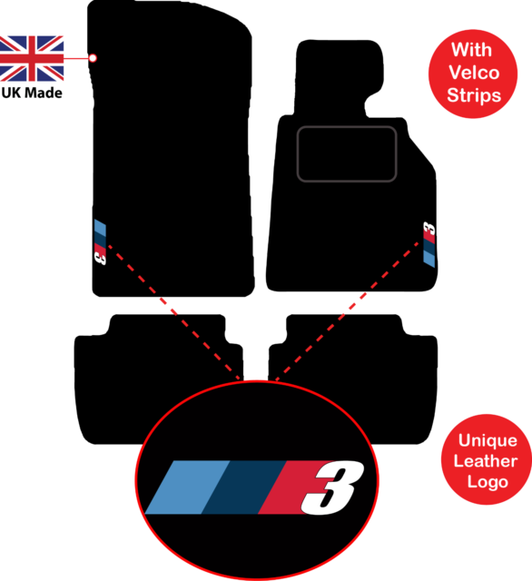Car Floor Mats In Black 2006-2013 + German Power Logos BMW 3 Series E93