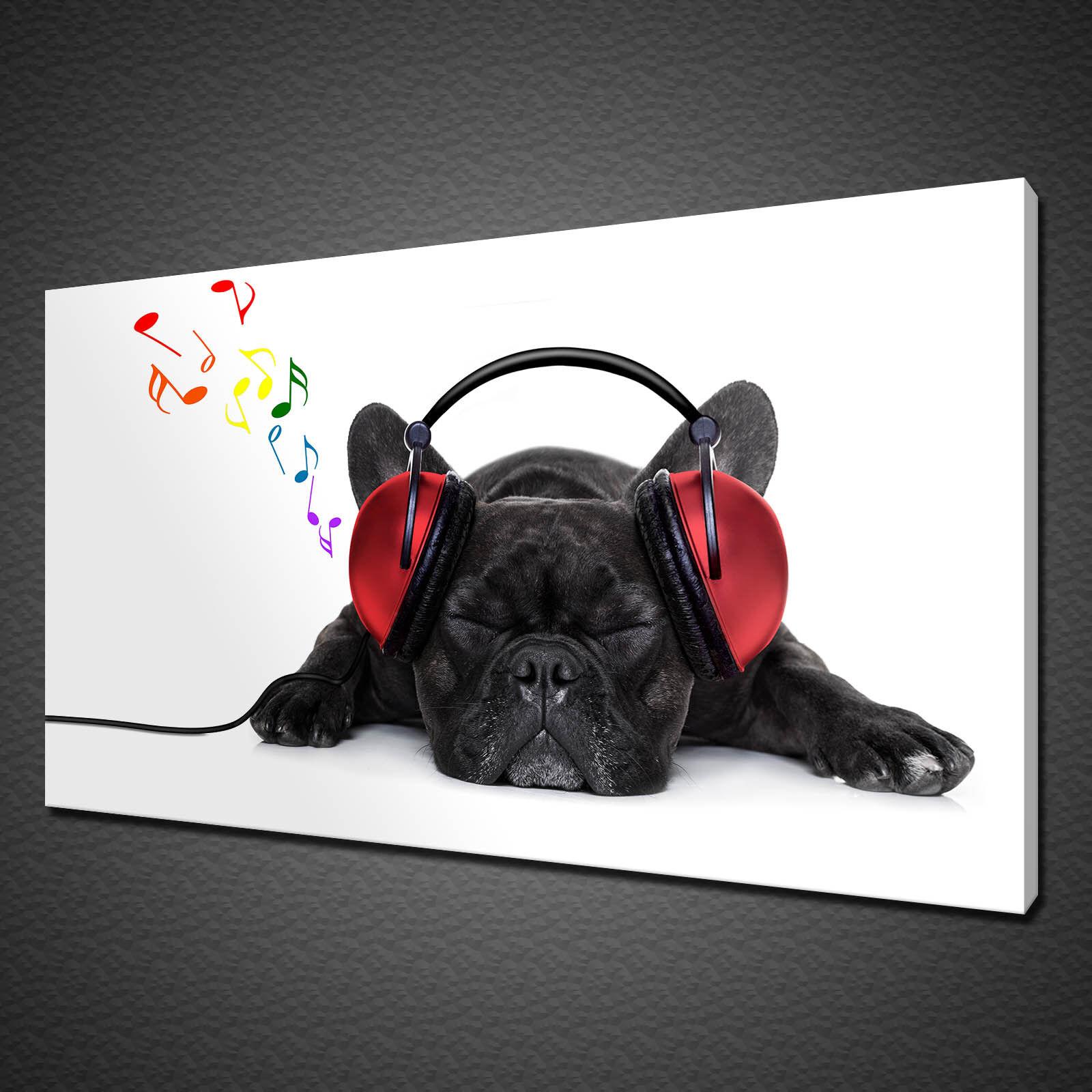 Carino Cane Nero Ascoltare musica Cuffie Tela Stampa Wall Art Picture Foto