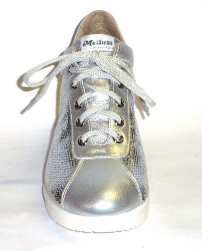 R20114 Moda Pelle Con Melluso Argento 41 Sneakers N Paillettes Colore Comoda rOTrxw
