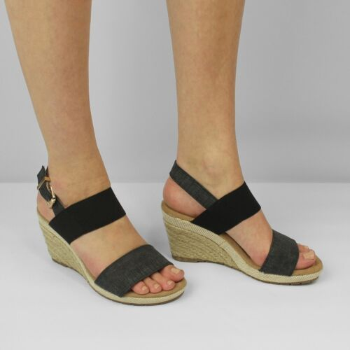 Shumo ORANGE GROVE Ladies Womens Elasticated Wedge Heel Strap Summer Sandals
