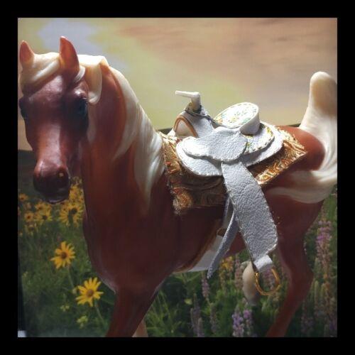 "Ooak Cm Traditional Breyer Western Saddle /""Yellow Rose Of Texas/"""