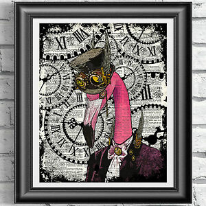 Pink-Flamingo-Steampunk-Hipster-Animal-Dictionary-Book-Page