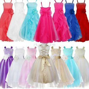 Flower Girl Straps Tulle Dress Formal Bridesmaid Wedding Party Prom Ball Gown