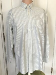 L-L-Bean-Shirt-Mens-Size-15-5-33-Long-Sleeve-Green-Oxford-Stripe-15-1-2