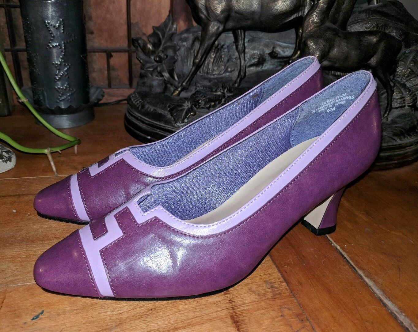 NEVER USED VINTAGE ANNIE PLUM LEATHER LOOK HIGH HEELS 50'S ERA 6 M PUMPS chaussures