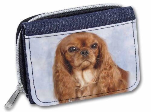 AD-SKC3JW Ruby King Charles Spaniel Dog Girls//Ladies Denim Purse Wallet Christm