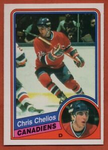 1984-85-O-Pee-Chee-259-Chris-Chelios-EX-EX-WRINKLE-ROOKIE-RC-Montreal-Canadiens
