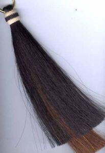 Shoo fly tassel, double layer, Horsehair, Shu Fly, black/cinnamon