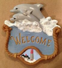 Handpainted Dolphin,Lighthouse & Ocean Welcome Plaque/Sign, Ceramic, Beach