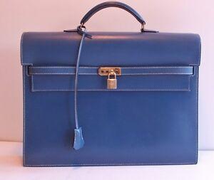 bdd124d96c7b Authentic Hermes Kelly Depeche 38 cm Blue Thalassa Box Calf Gold ...
