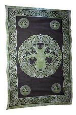 """Green Celtic Tree of Life Tapestry Blanket 72 x 108"""" Wiccan Pagan Altar WTTL"""
