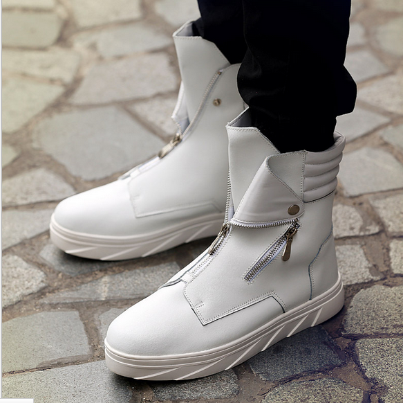 Mens High Top Ankle Boots Zips Athletic Sporst Sneaker Korean Shoes 3Colors Pump