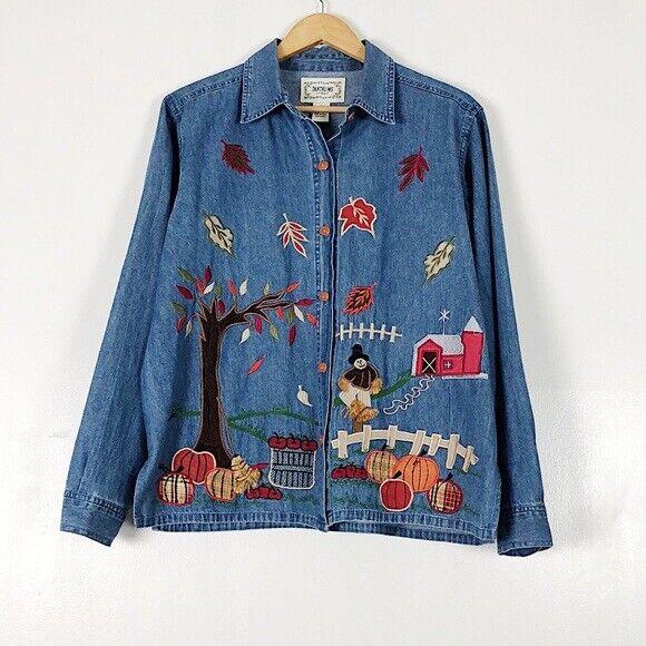 Nineties Button Up Top Retro Denim Blouse Winter Wear Snowflake accents Size Medium-Large Blue Jean