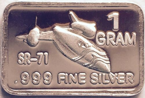 "Best Deal Lots 1 Gram of .999 Solid Silver Bullion Art Bar /""SR-71 BLACKBIRD/"""