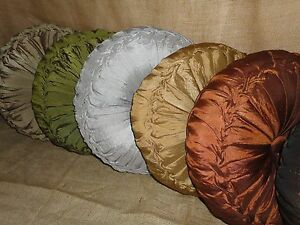 J Queen 15 Quot Round Tufted Tambourine Pillow Ruched Button