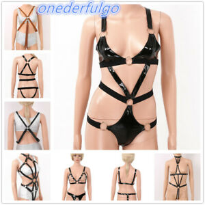 Women Punk PU Leather Hollow Out Bodysuit Adjustable Body Caged Bra Harness Belt