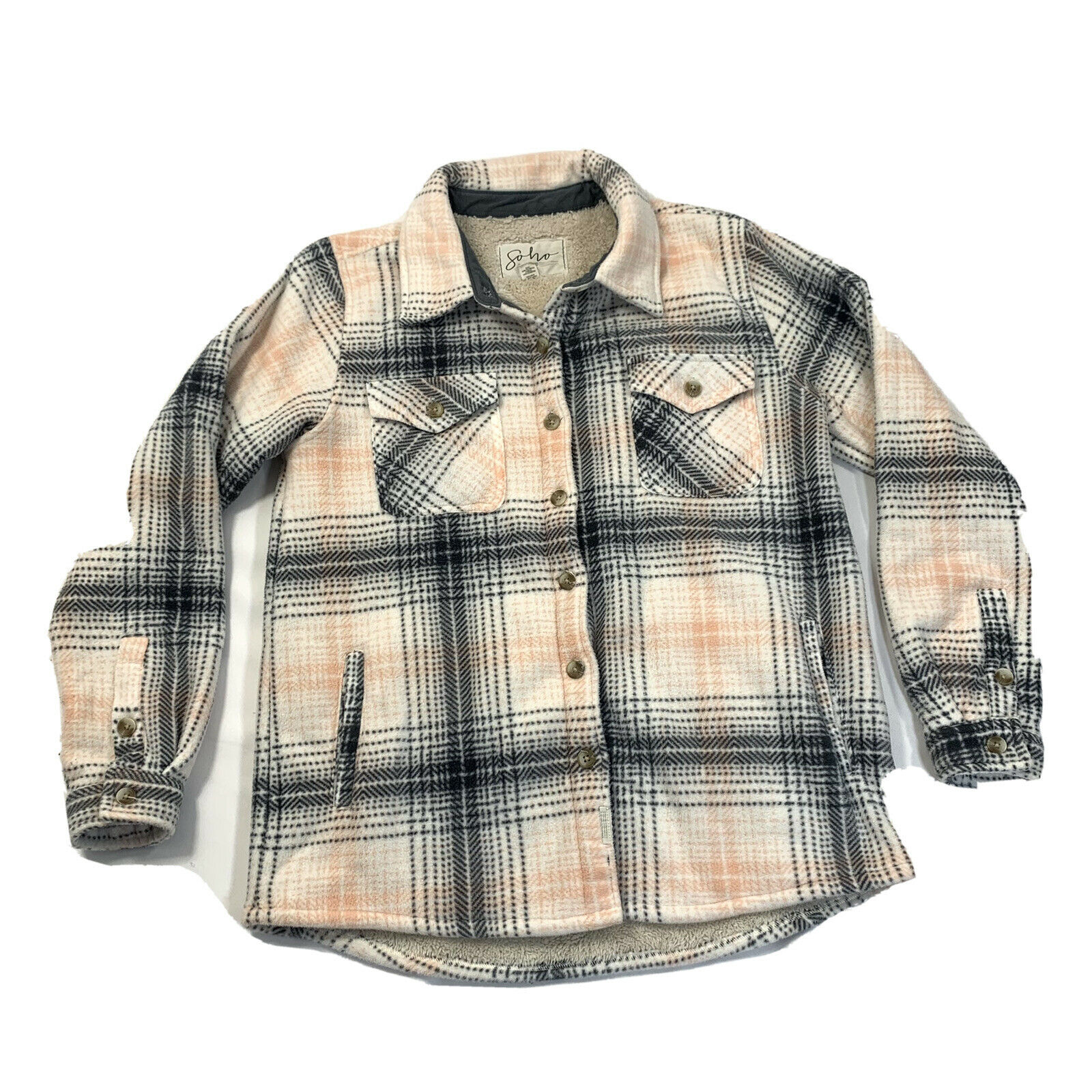 Soho Threads Womens Medium Sherpa Lined Plaid Flannel Shirt Jacket
