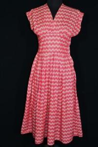Intelligent Rare Français 1940's Vintage -50's Provence Région Coton Rouge & Blanc Robe