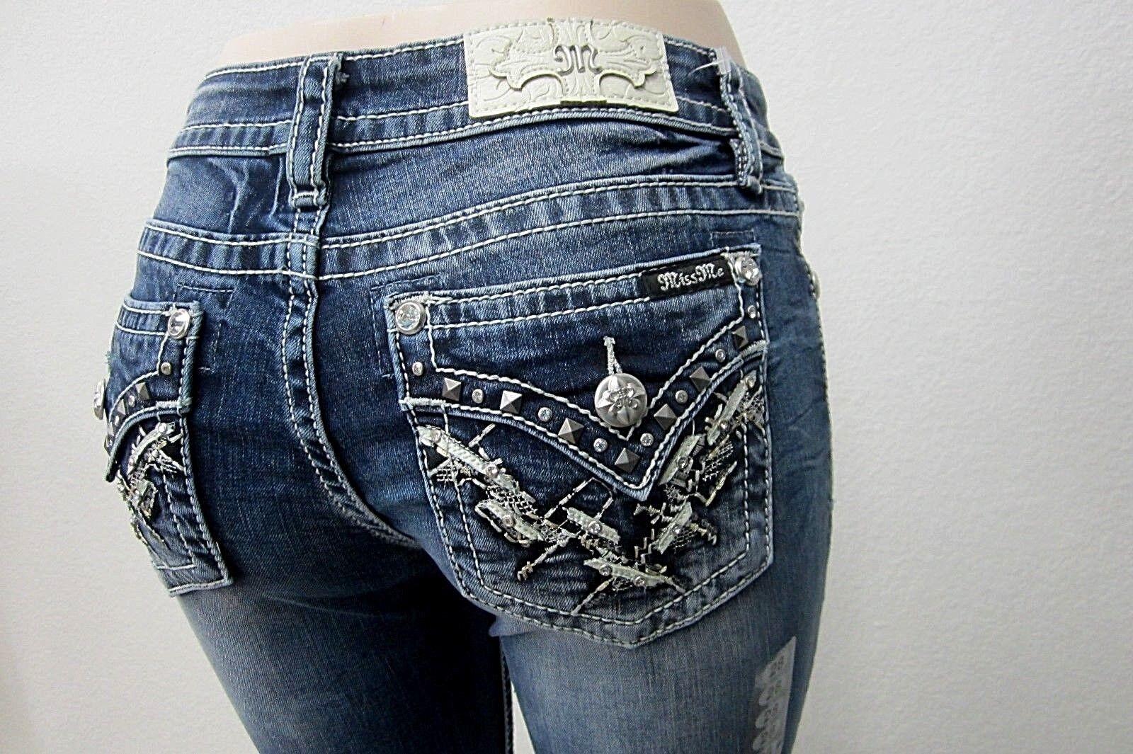 NWT Miss Me CUTE BLING Womens Boot Cut Denim bluee Jeans M3171B Size 30 X 34