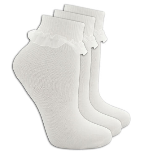 Girls Plain White Over Ankle Turn Over Lace School 3 Pack Socks Size 6 to 3.5