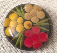 RARE Vintage 40s Applejuice Reverse Carved Black Painted Floral Bakelite Button