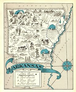 Details about 1930s Antique ARKANSAS State Map RARE Animated Picture Map of  Arkansas BLU 6894