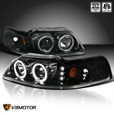 Jet Black Fits 1999 2004 Ford Mustang Led Halo Projector Headlights Leftright Fits Mustang