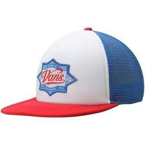 f3886371c796d8 Vans Off The Wall Brewed Snapback Trucker Hat Mens Red White Blue ...