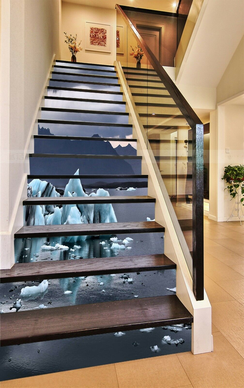 3D Ice sea 7 Stair Risers Decoration Photo Mural Vinyl Decal Wallpaper UK