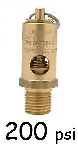 """BOSS Safety pressure relief pop off 1//4/"""" valve 200psi for compressor air tank"""