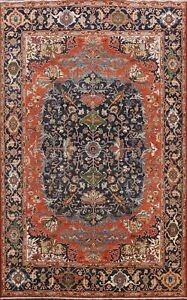 Geometric-Heriz-Serapi-Oriental-Area-Rug-Vegetable-Dye-Hand-knotted-WOOL-8x10-ft