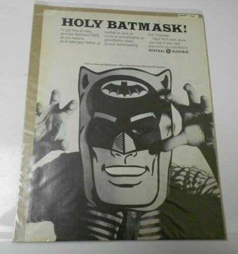 1965 BATMAN Mask Batmask GE General Electric CLIPPING Full Page Ad 10x14