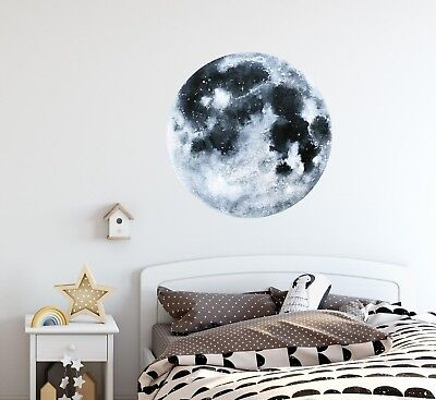 Watercolor Moon Wall Decal Removable Planet Space Sticker Kids Room Decor Ebay