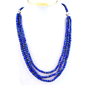 321.00 Cts Earth Mined Blue Lapis Lazuli Round Cut Beads Necklace NK 41E114