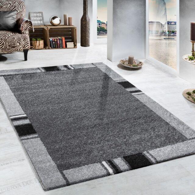 Modern Grey Rug For Living Room Border Design Heavy Woven Carpet Small Large Xl 120x170cm 4 X5 6 Ebay