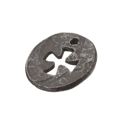 Gunmetal Black Round Cut Out Cross Charm Pendants 23mm Pack of 1 C85//7