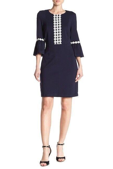 NANETTE nanette lepore 3 4 Length Sleeve Ruffle Cuff Fitted Dress Navy Blau 4